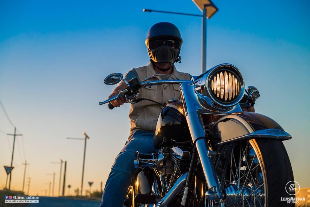 Brad Miskiewicz with his Custom Harley Homage to Terminator 2