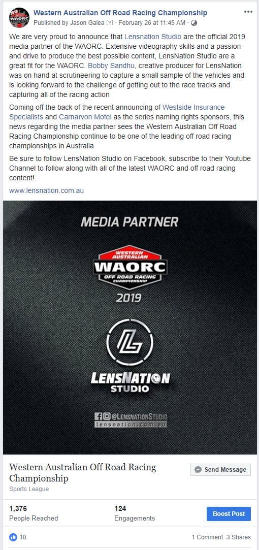 WAORC Facebook Post about Lensnation Studio Media Partnership