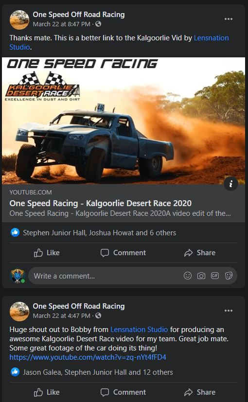 Facebook post by one speed racing thanking lensnation studio