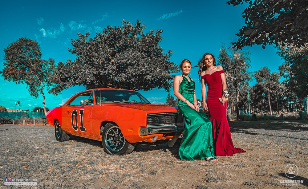Dukes of Hazzard Dodge Charger General lee Model Fashion Photoshoot