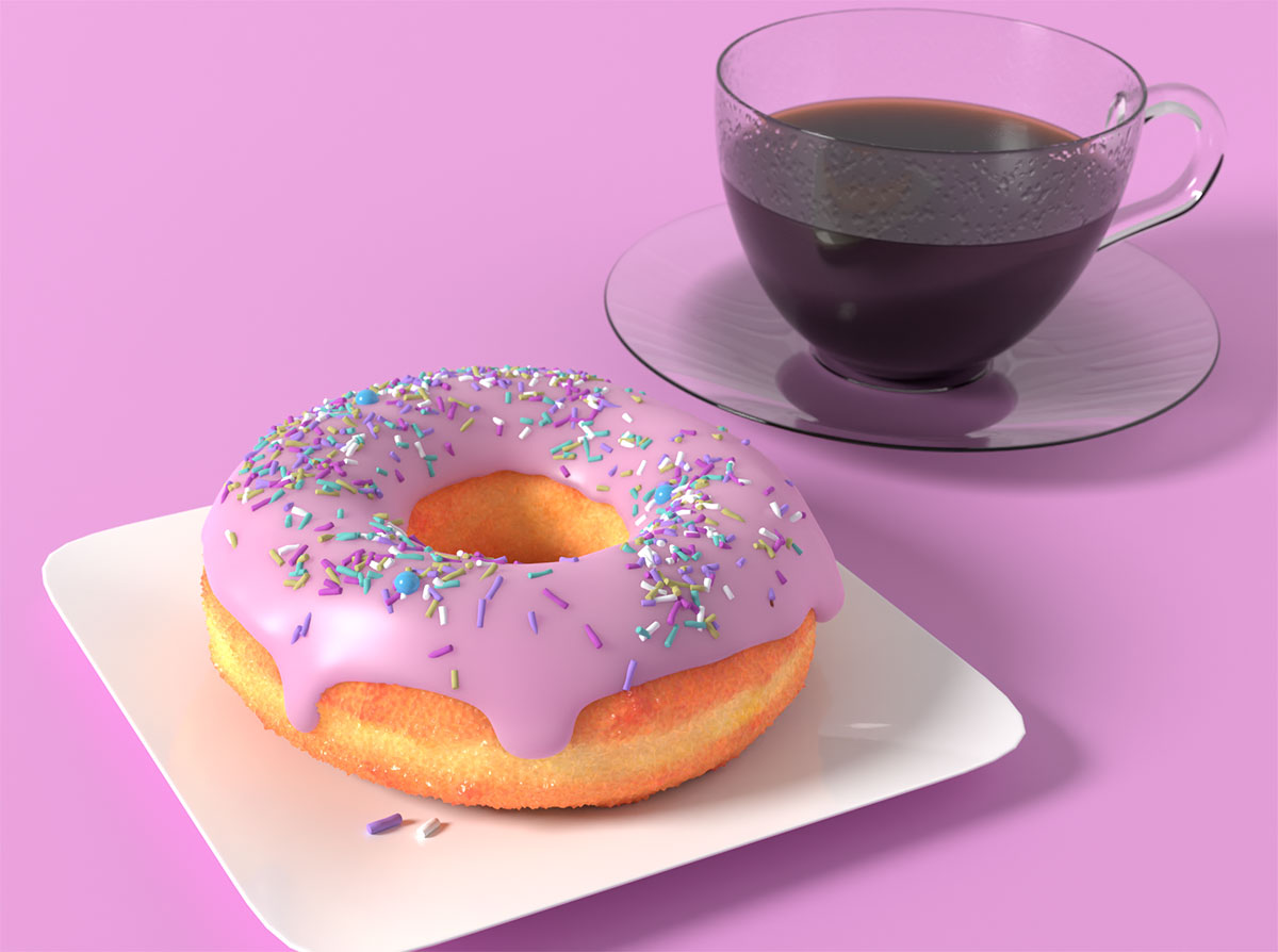 Blender Andrew Price Coffee Cup in 3D Finished Scene