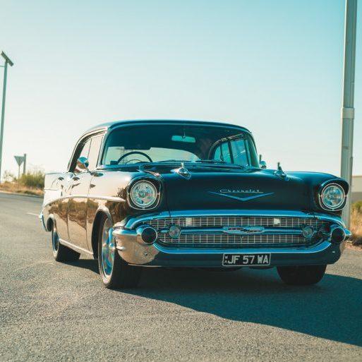 Chevrolet Belair Pillarless 1957 Perth Steel Bumper Car Photoshoot