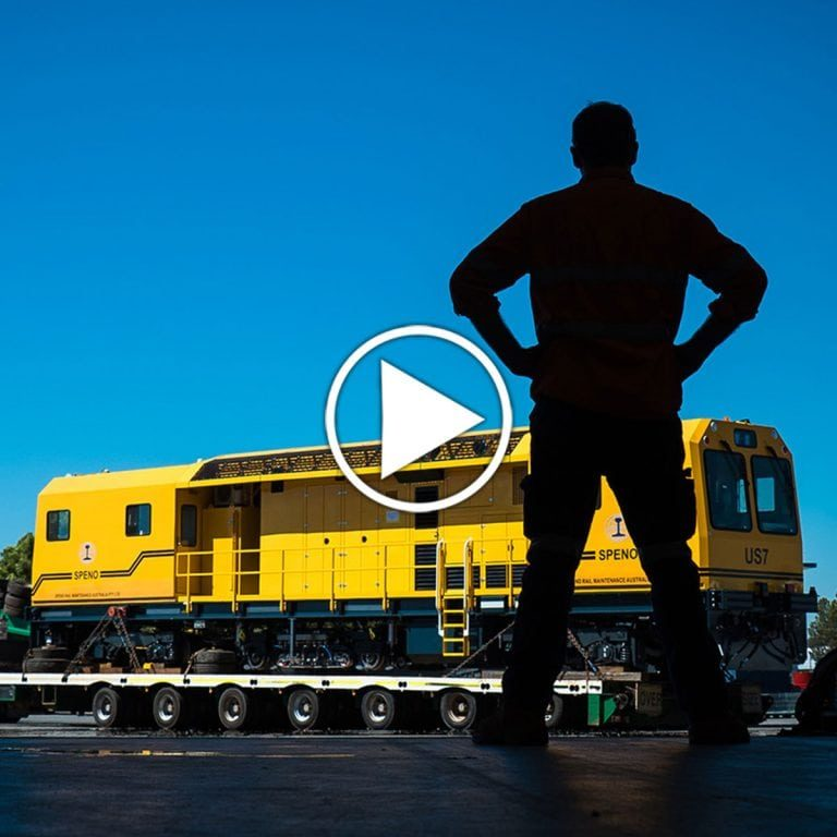 Speno Train Track machine Timelapse Video Heavy Industry